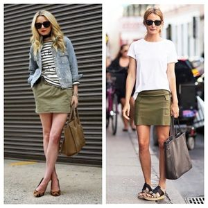 {urban outfitters} army green mini skirt pull on